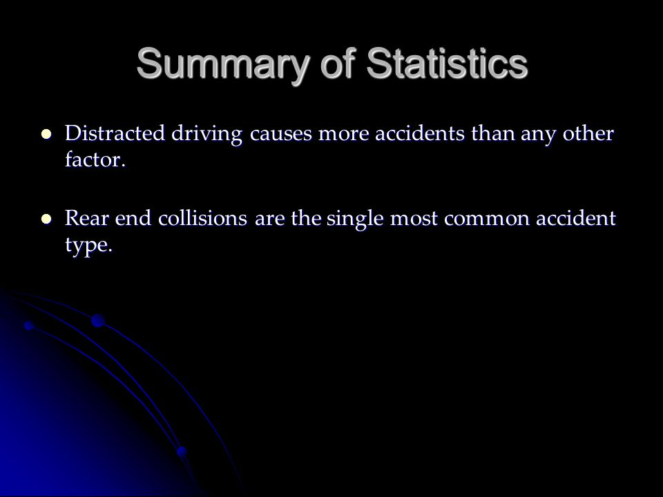 Summary of Statistics Distracted driving causes more accidents than any other factor.