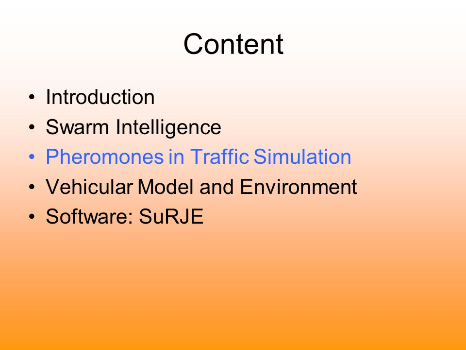 Content Introduction Swarm Intelligence
