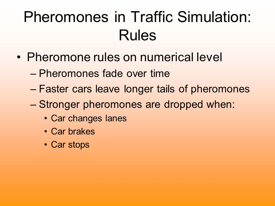 Pheromones in Traffic Simulation: Rules