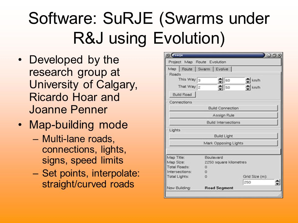 Software: SuRJE (Swarms under R&J using Evolution)