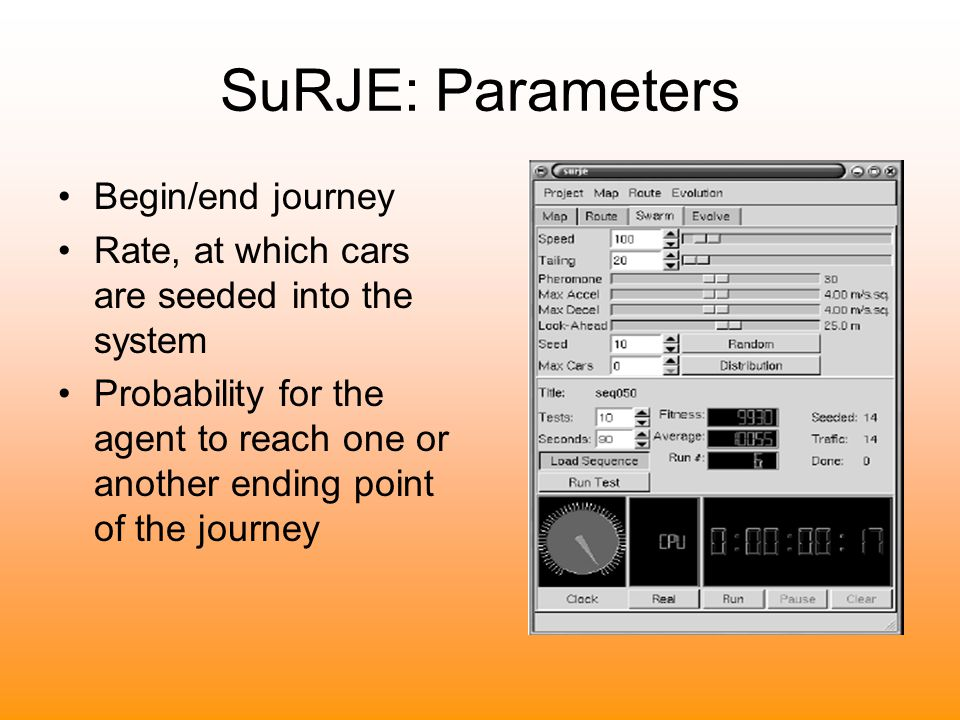 SuRJE: Parameters Begin/end journey