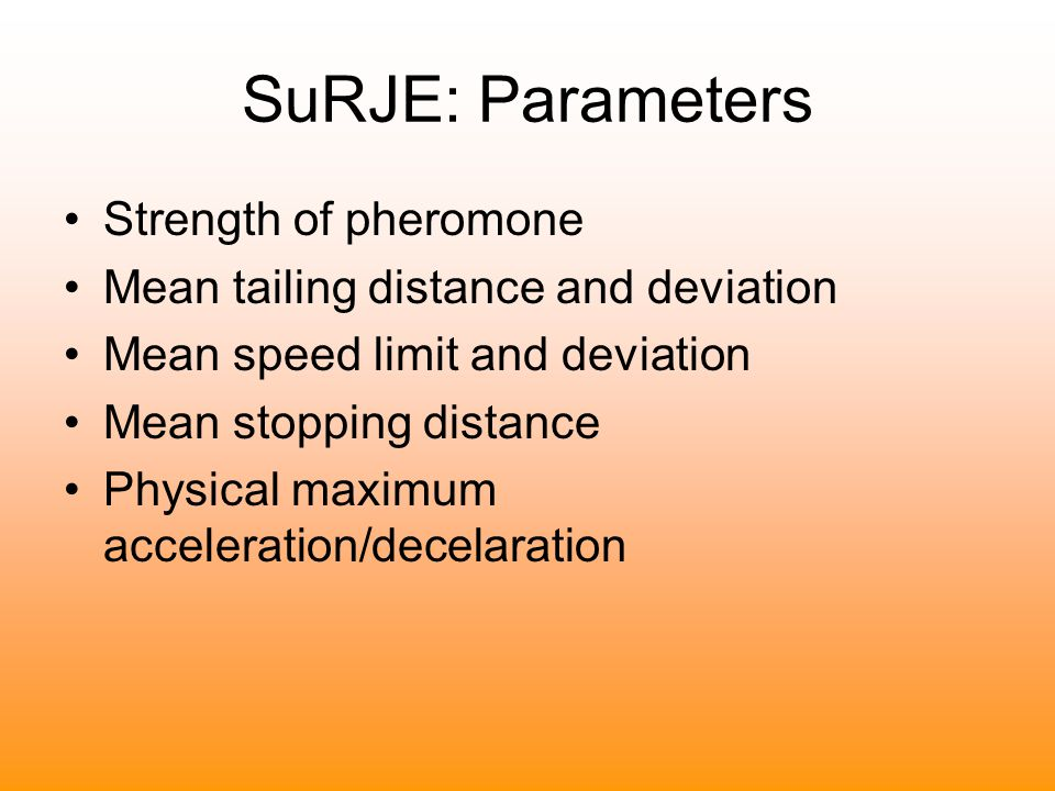 SuRJE: Parameters Strength of pheromone