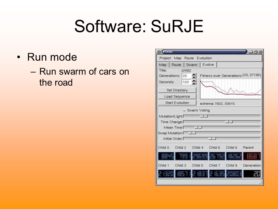 Software: SuRJE Run mode Run swarm of cars on the road