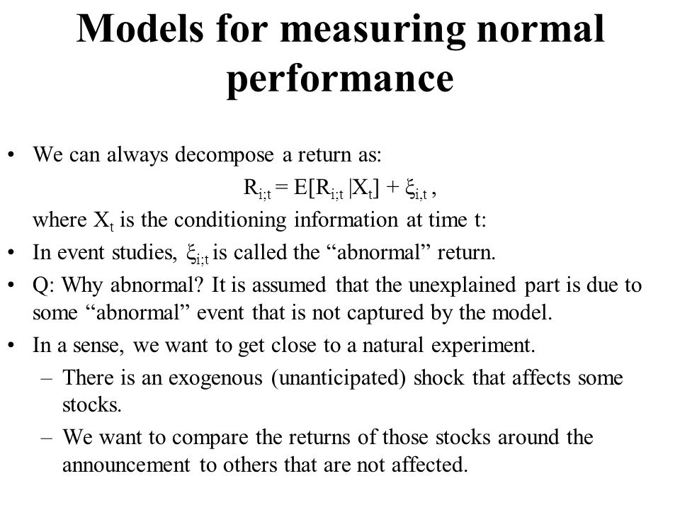 Models for measuring normal performance