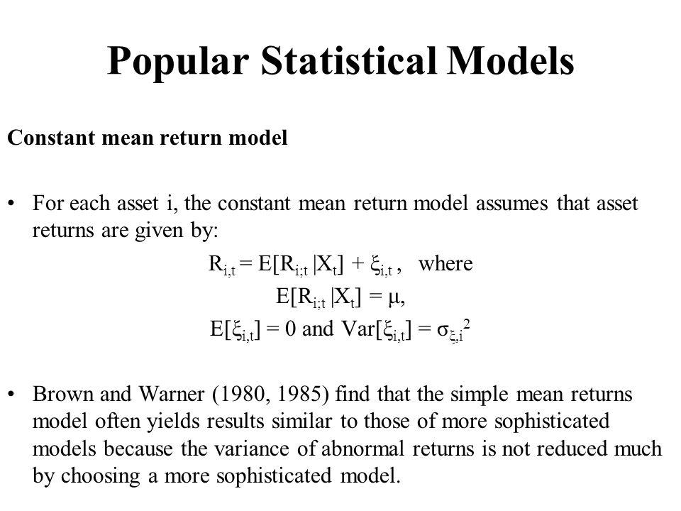 Popular Statistical Models