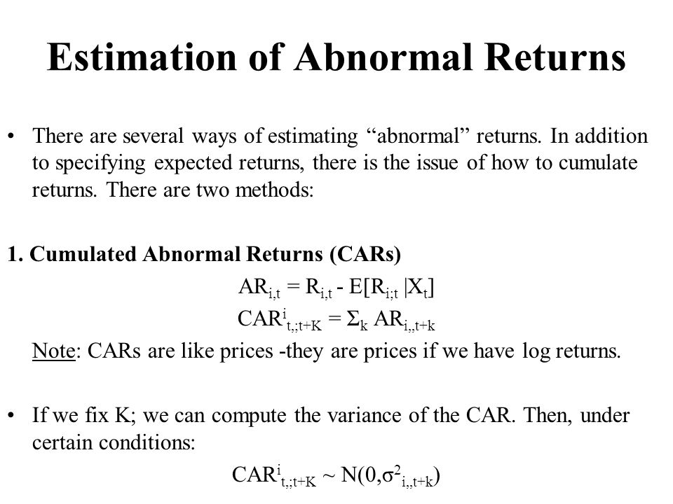 Estimation of Abnormal Returns