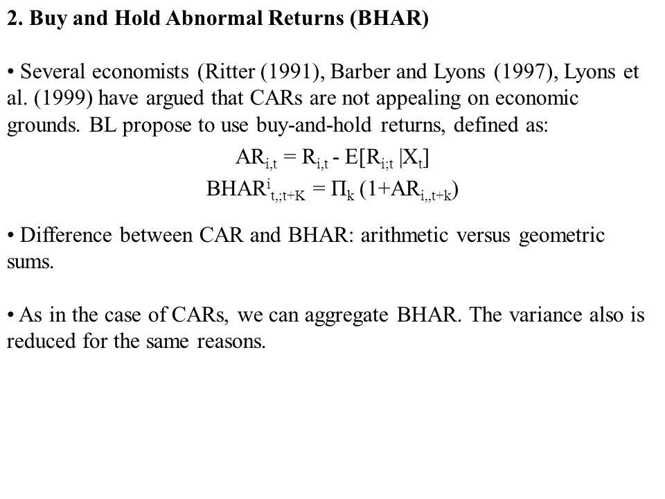 BHARit,;t+K = Πk (1+ARi,,t+k)