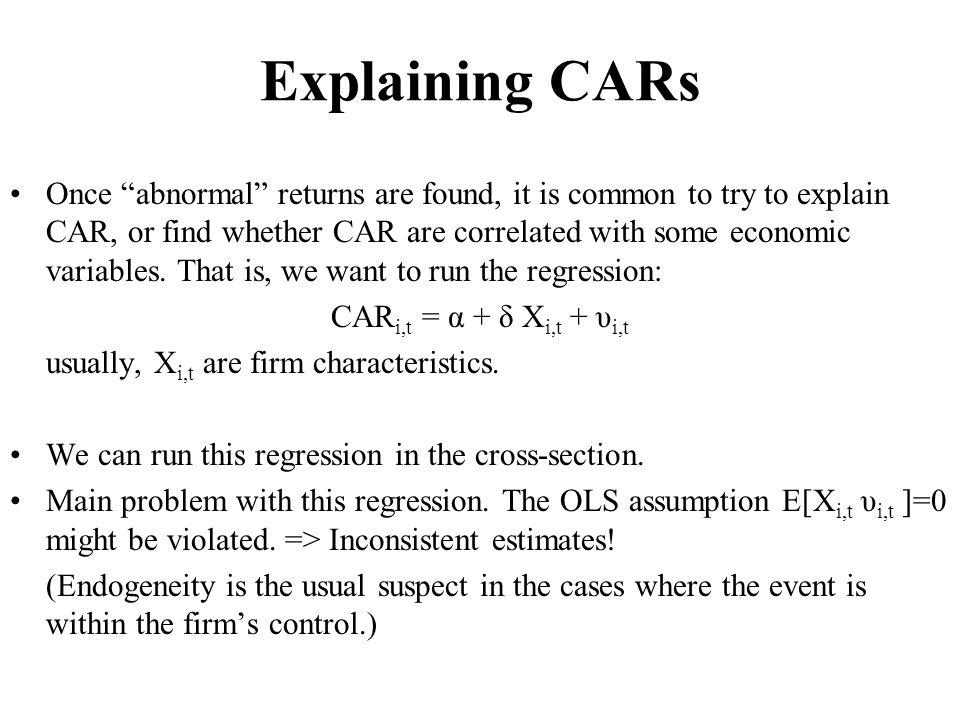 Explaining CARs