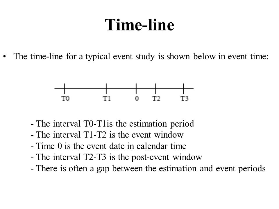 Time-line The time-line for a typical event study is shown below in event time: - The interval T0-T1is the estimation period.