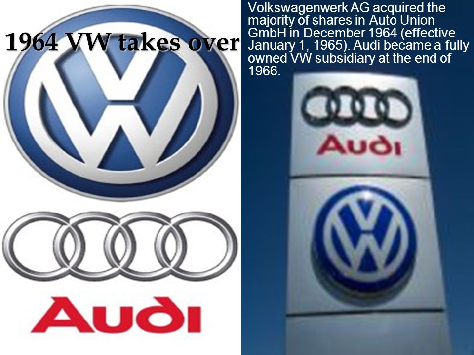 Volkswagenwerk AG acquired the majority of shares in Auto Union GmbH in December 1964 (effective January 1, 1965). Audi became a fully owned VW subsidiary at the end of 1966.