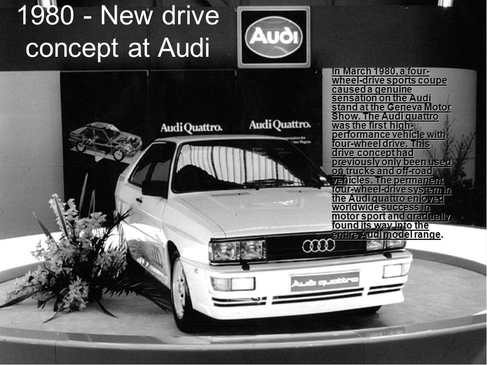 1980 - New drive concept at Audi