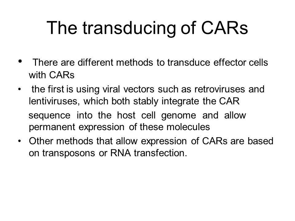 The transducing of CARs