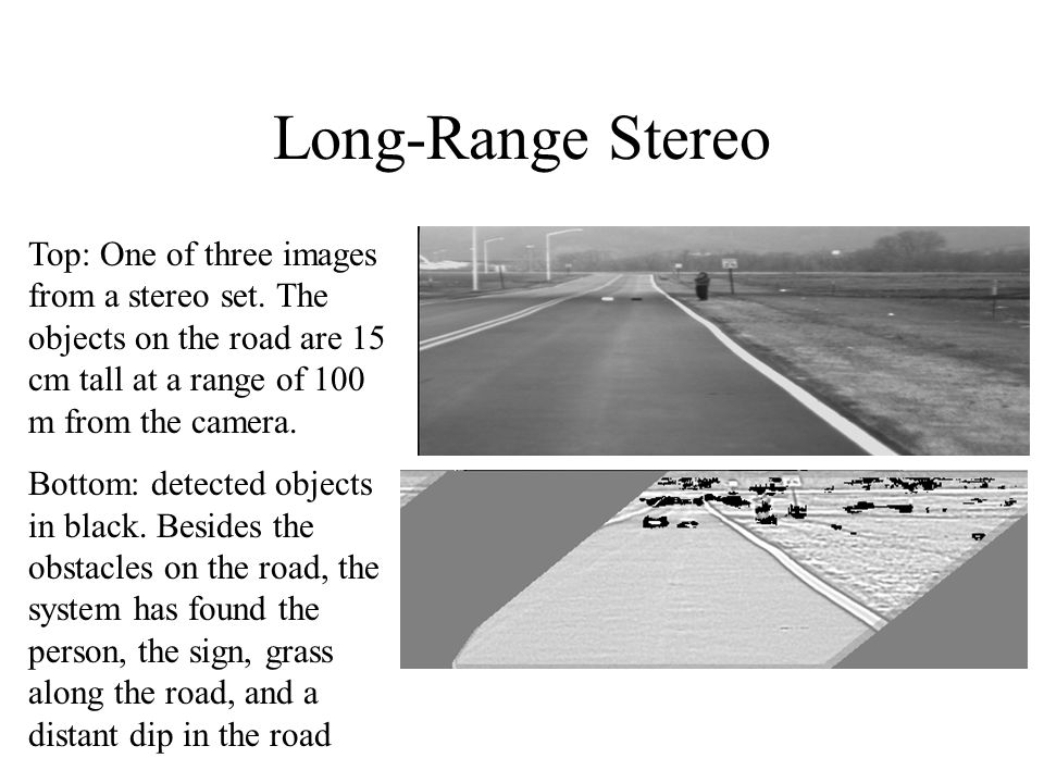 Long-Range Stereo Top: One of three images from a stereo set. The objects on the road are 15 cm tall at a range of 100 m from the camera.