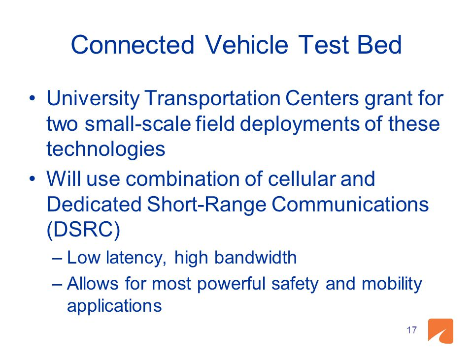 Connected Vehicle Test Bed