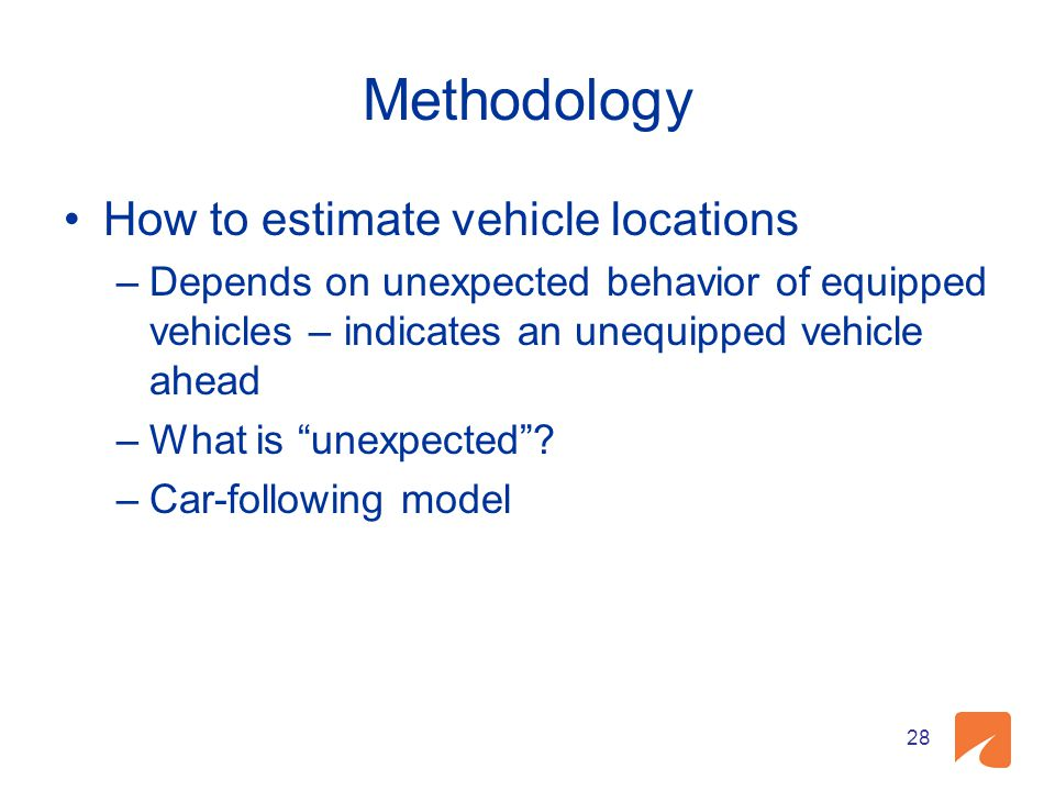 Methodology How to estimate vehicle locations