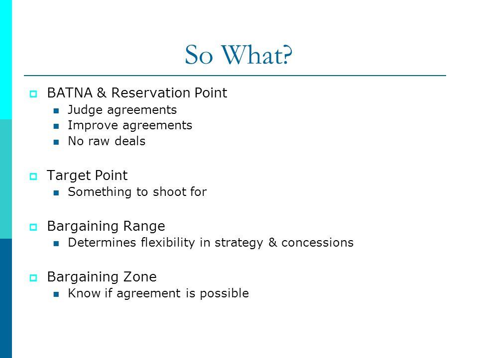 So What BATNA & Reservation Point Target Point Bargaining Range