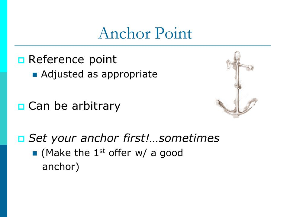 Anchor Point Reference point Can be arbitrary