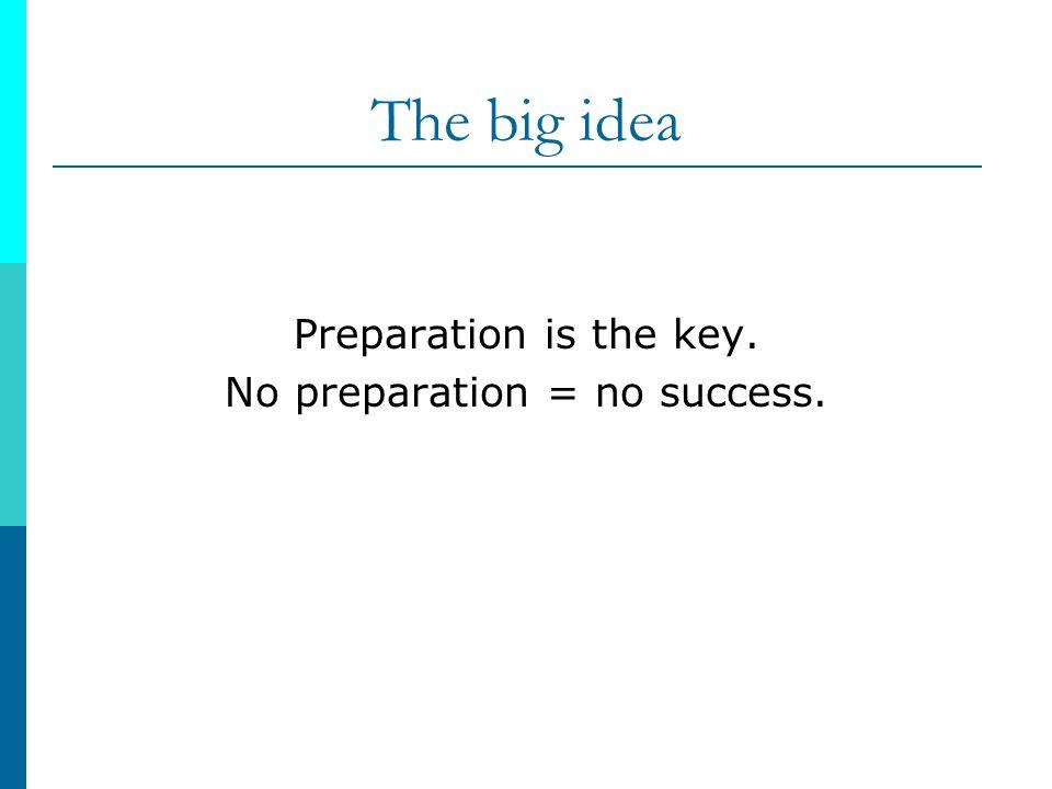 No preparation = no success.