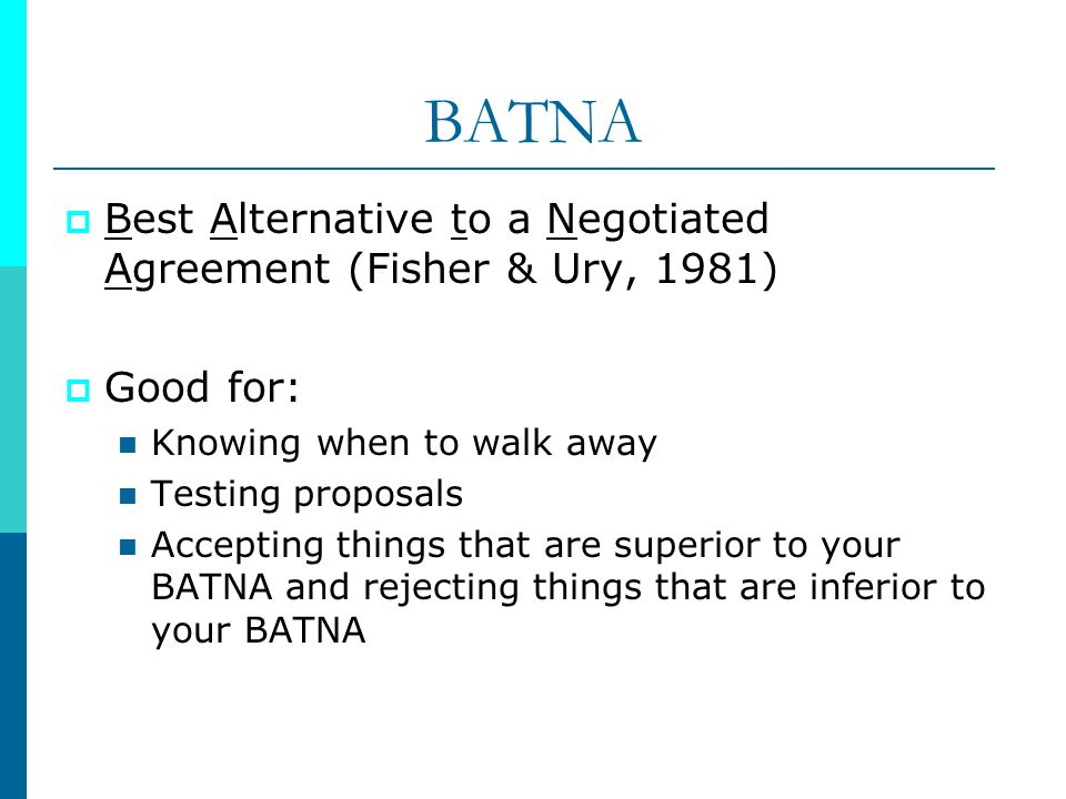 BATNA Best Alternative to a Negotiated Agreement (Fisher & Ury, 1981)