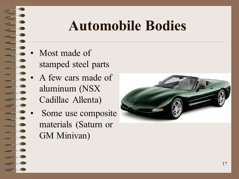 Automobile Bodies Most made of stamped steel parts