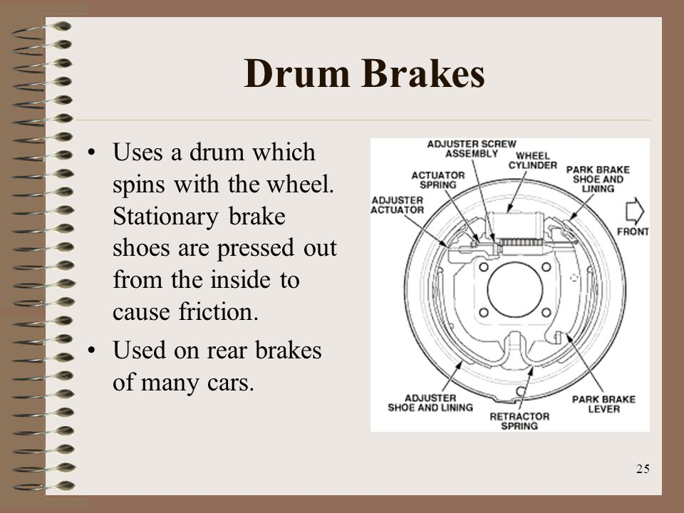 Drum Brakes Uses a drum which spins with the wheel. Stationary brake shoes are pressed out from the inside to cause friction.