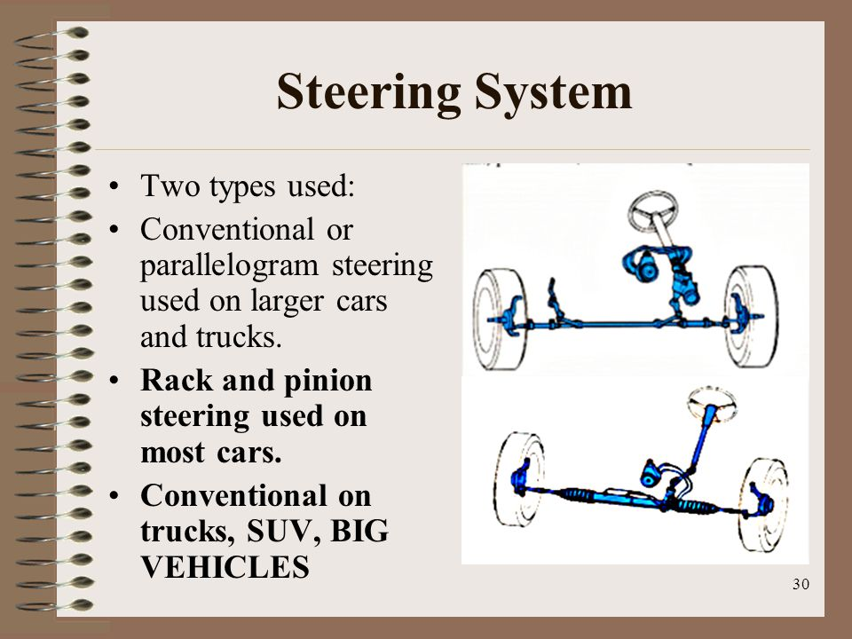 Steering System Two types used: