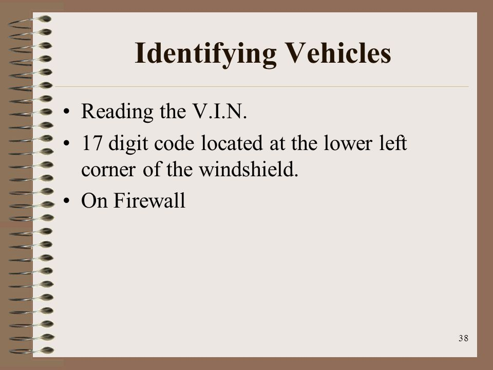 Identifying Vehicles Reading the V.I.N.