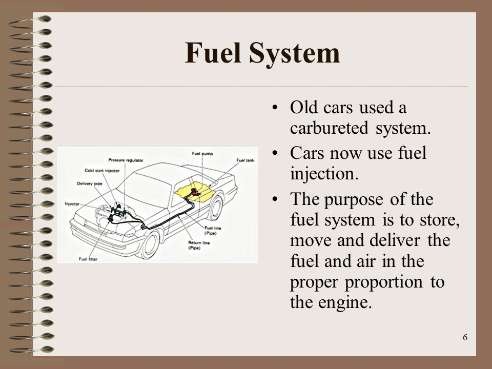 Fuel System Old cars used a carbureted system.