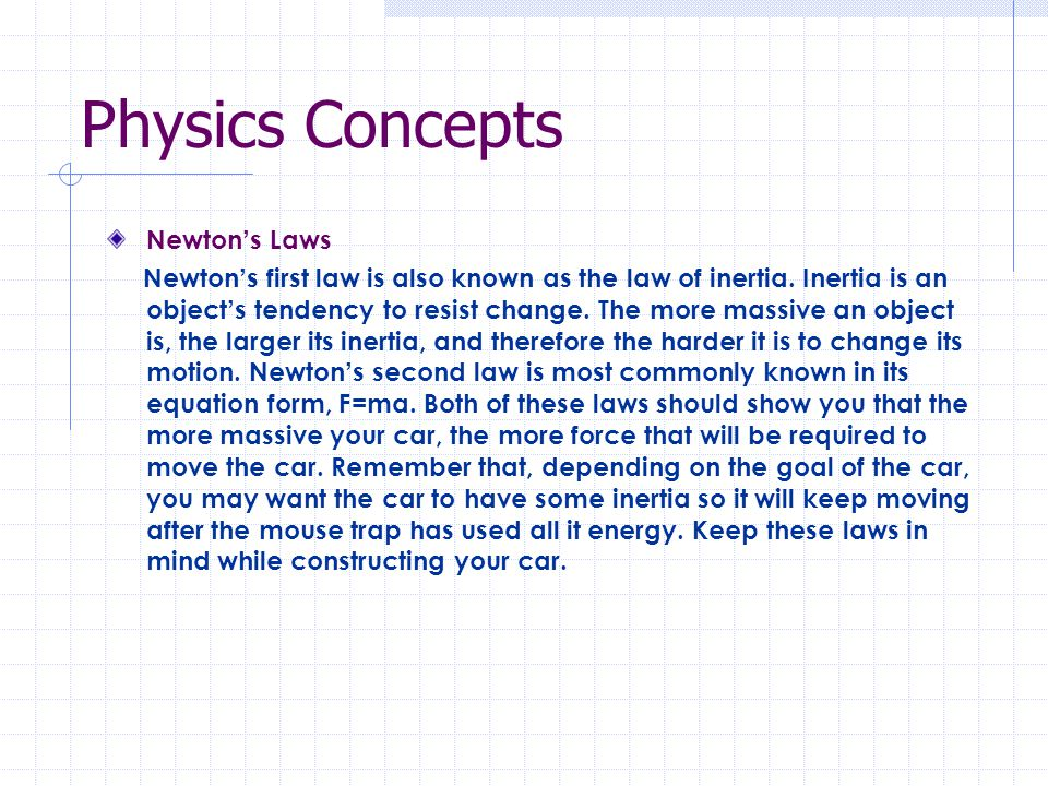 Physics Concepts Newton's Laws