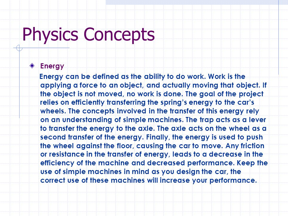 Physics Concepts Energy