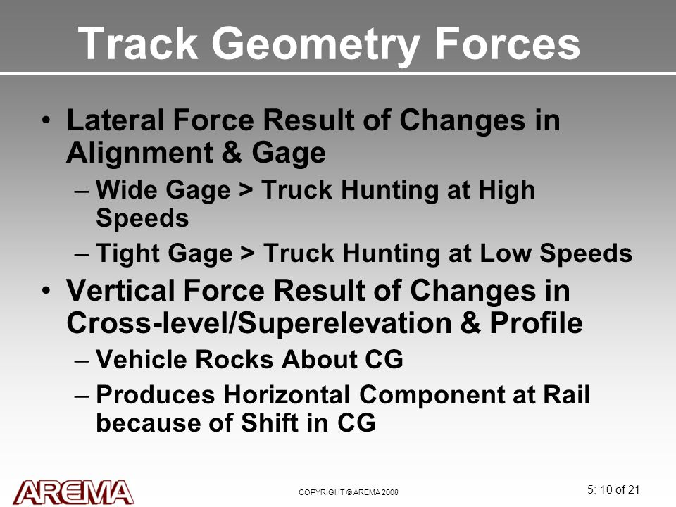 Track Geometry Forces Lateral Force Result of Changes in Alignment & Gage. Wide Gage > Truck Hunting at High Speeds.