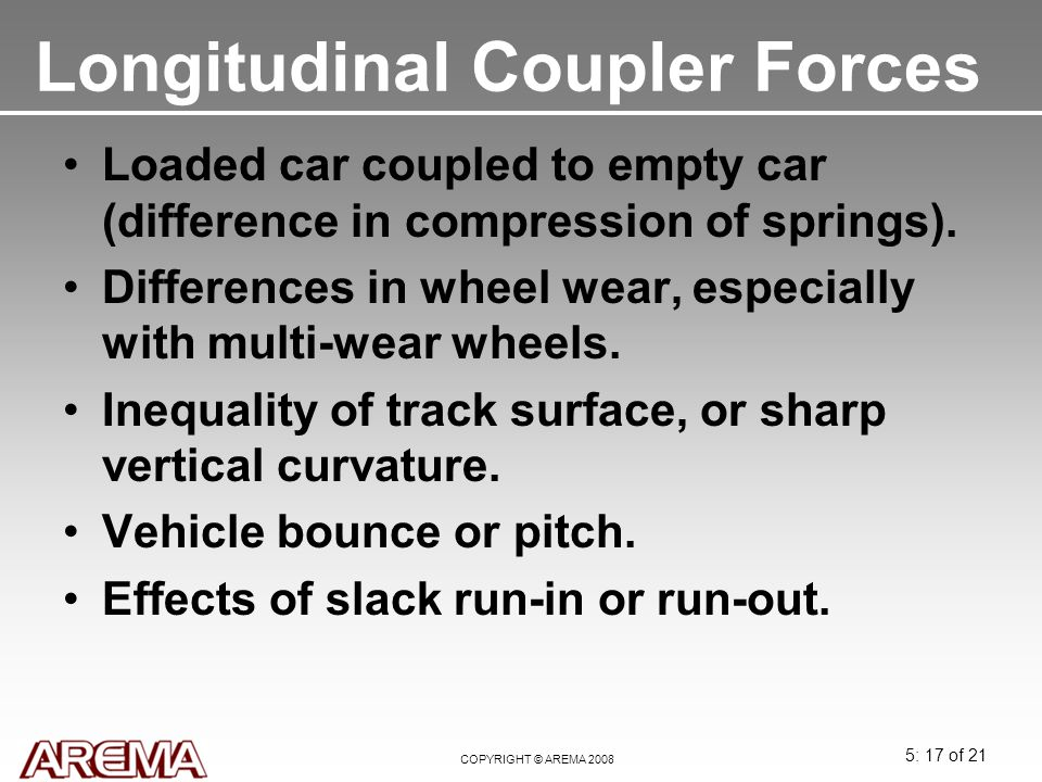 Longitudinal Coupler Forces