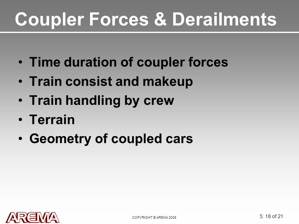 Coupler Forces & Derailments