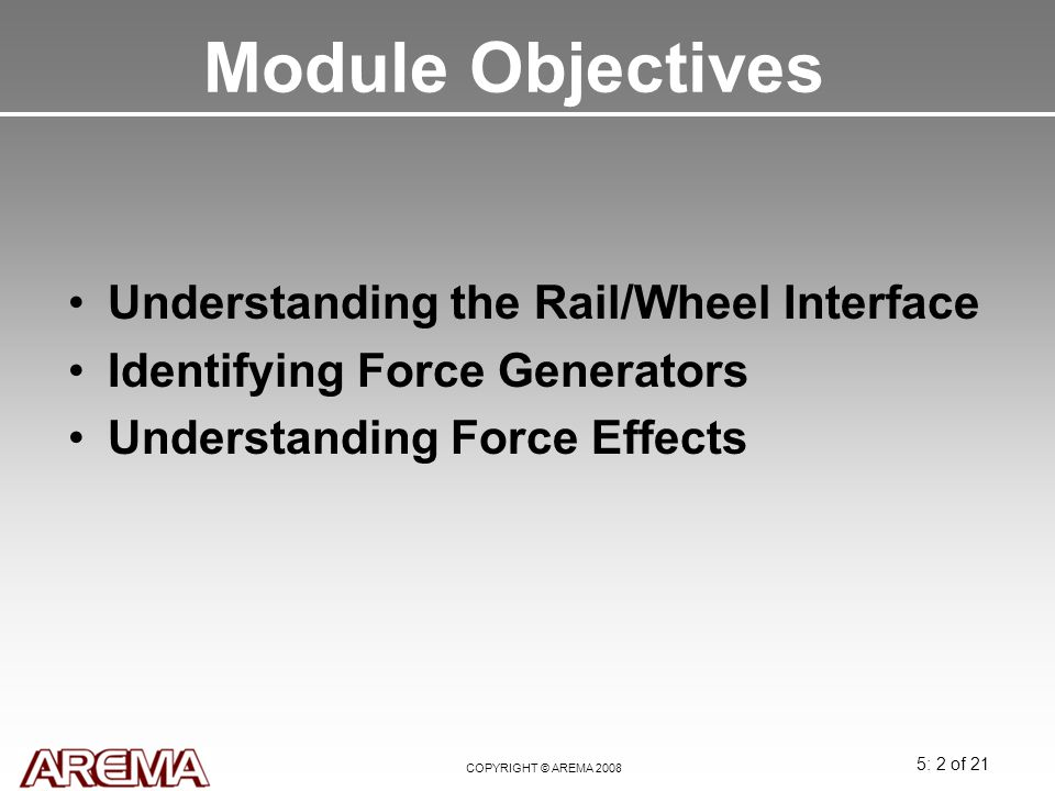 Module Objectives Understanding the Rail/Wheel Interface