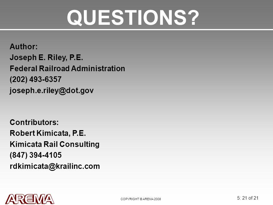 QUESTIONS Author: Joseph E. Riley, P.E.