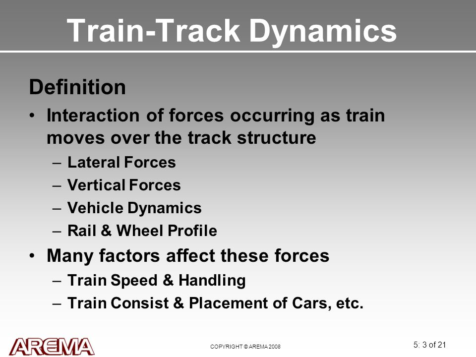 Train-Track Dynamics Definition