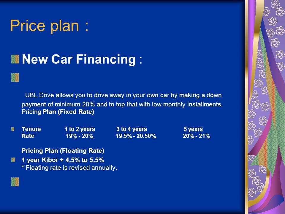 Price plan : New Car Financing :