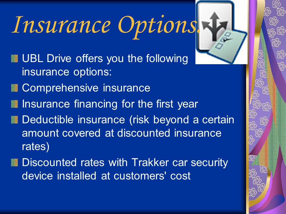 Insurance Options. UBL Drive offers you the following insurance options: Comprehensive insurance. Insurance financing for the first year.
