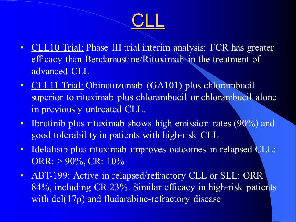 CLL CLL10 Trial: Phase III trial interim analysis: FCR has greater efficacy than Bendamustine/Rituximab in the treatment of advanced CLL.