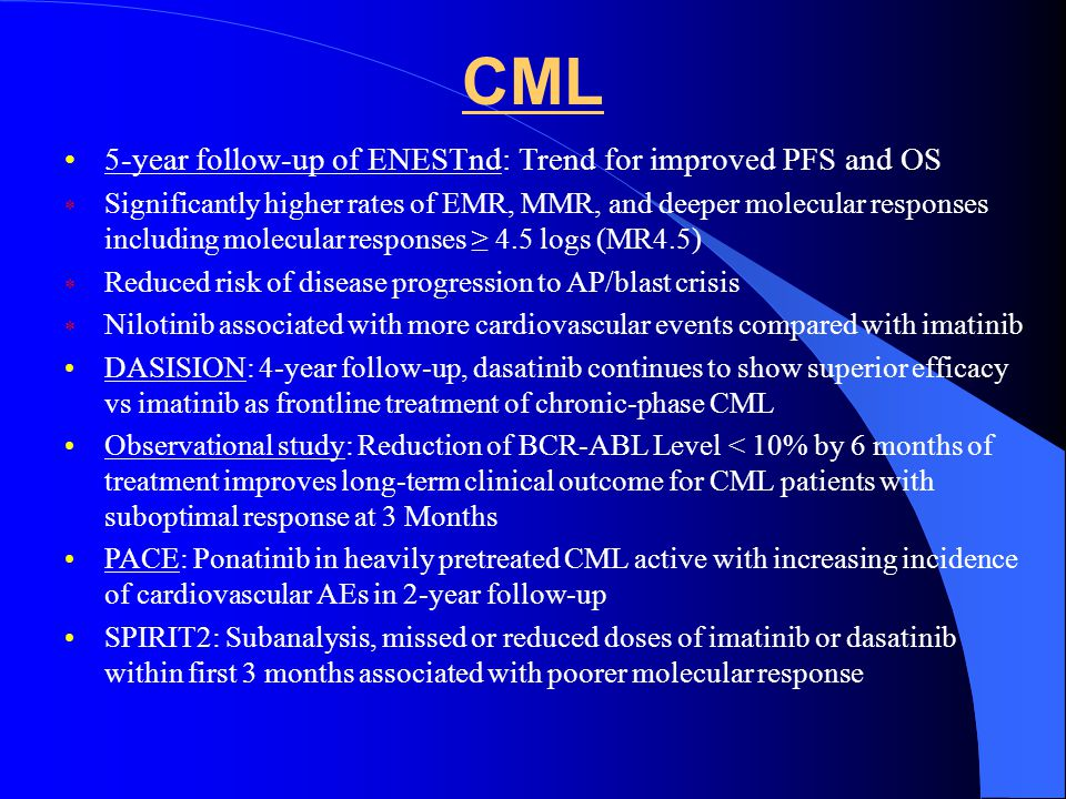 CML 5-year follow-up of ENESTnd: Trend for improved PFS and OS