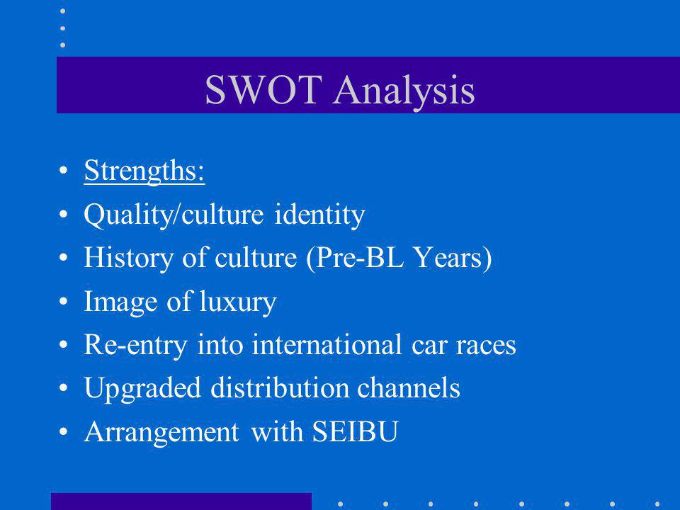 SWOT Analysis Strengths: Quality/culture identity