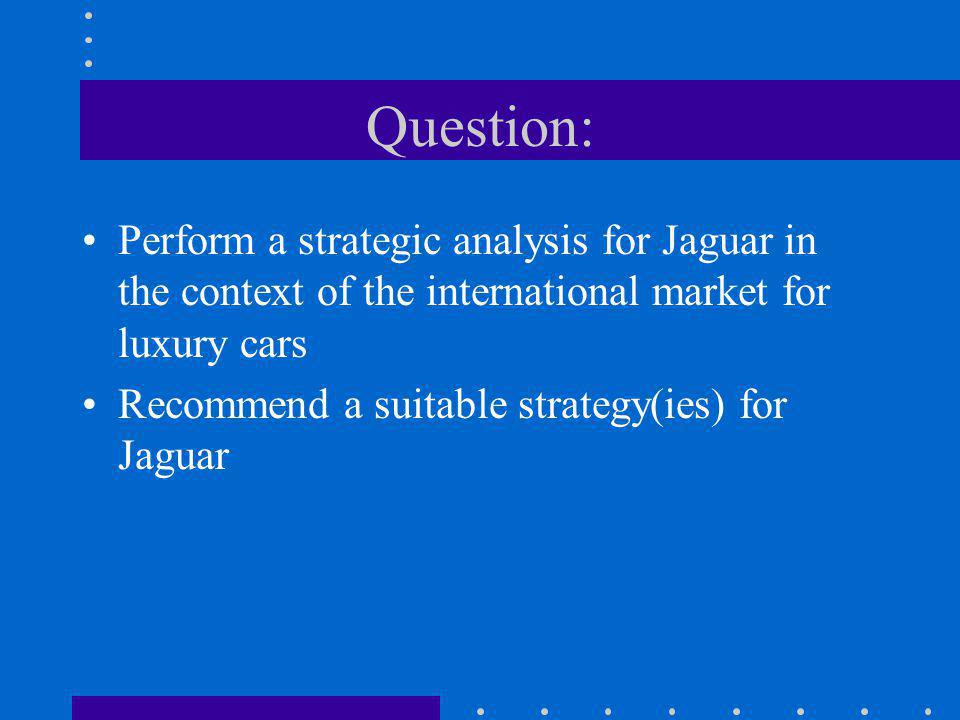 Question: Perform a strategic analysis for Jaguar in the context of the international market for luxury cars.