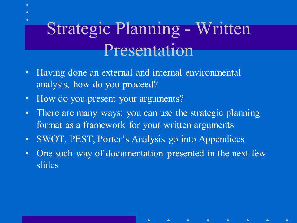 Strategic Planning - Written Presentation