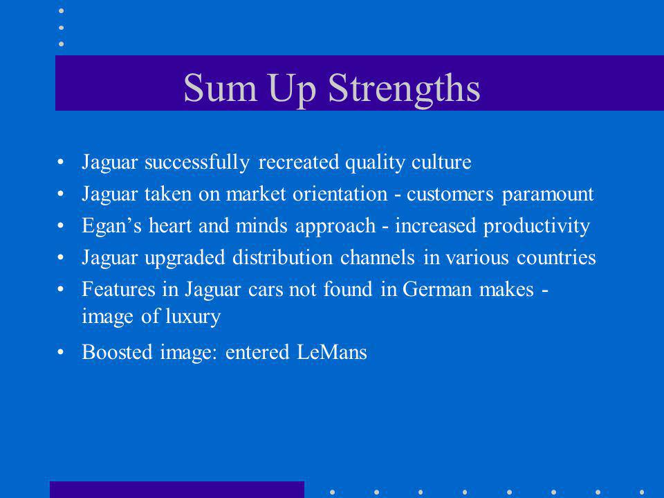 Sum Up Strengths Jaguar successfully recreated quality culture