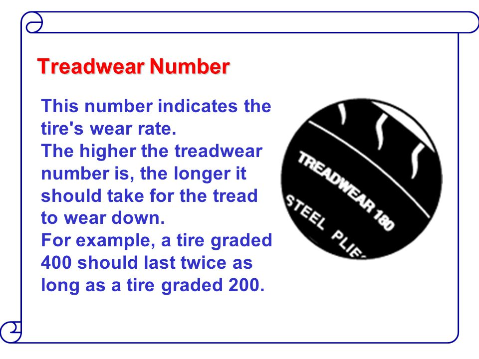 Treadwear Number This number indicates the tire s wear rate.
