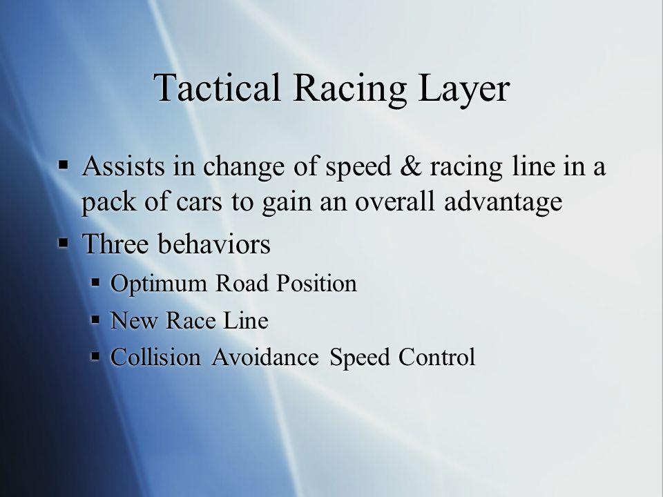 Tactical Racing Layer Assists in change of speed & racing line in a pack of cars to gain an overall advantage.