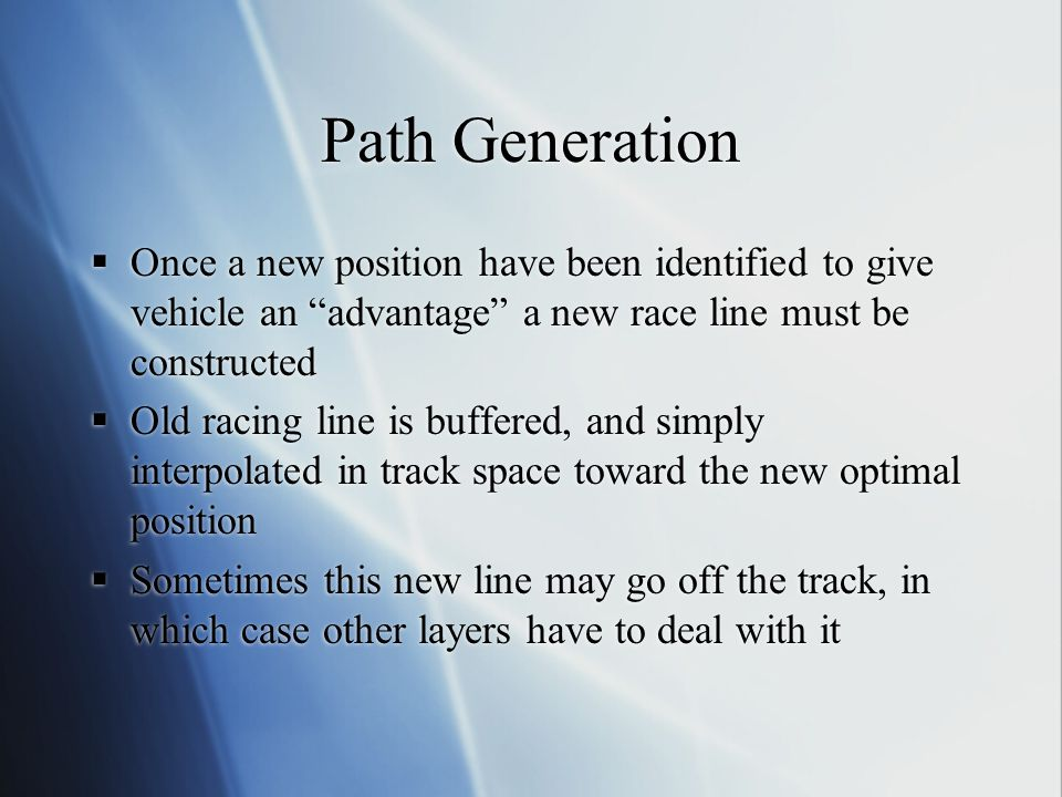 Path Generation Once a new position have been identified to give vehicle an advantage a new race line must be constructed.