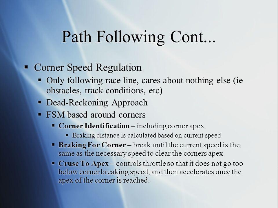 Path Following Cont... Corner Speed Regulation