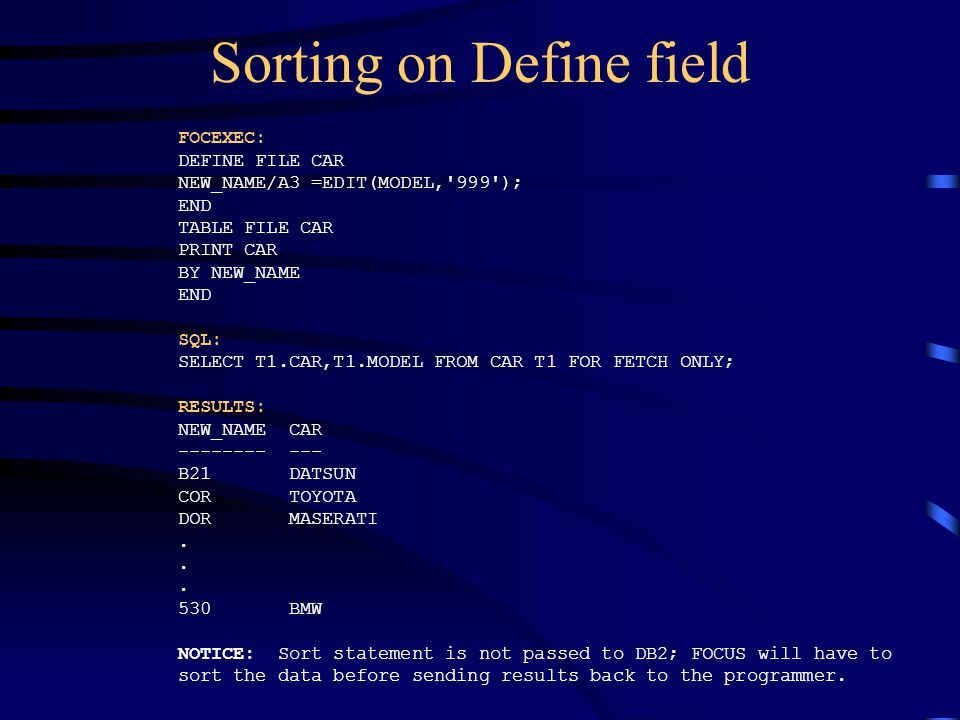 Sorting on Define field