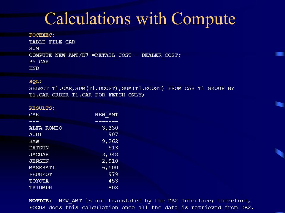 Calculations with Compute